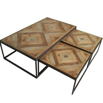 Table gigogne bois métal SEVILLE (lot de 3 tables)