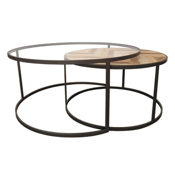 Table gigogne bois métal motif chevron SEVILLE (lot de 2)