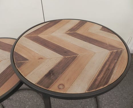 Lot de 3 selettes gigognes rondes en métal et bois motifs ethniques 50x50xH60cm SEVILLE