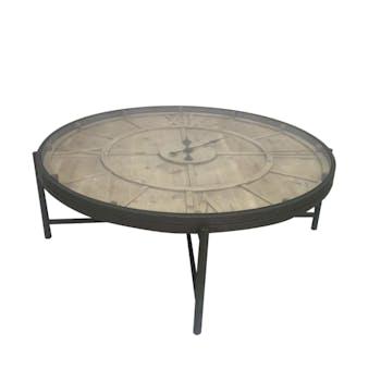 Table basse ronde avec horloge en métal et pin 106x106x37cm FERSCOTT