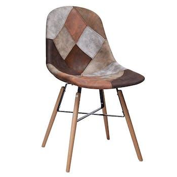 Chaise scandinave patchwork marron et gris CANADA