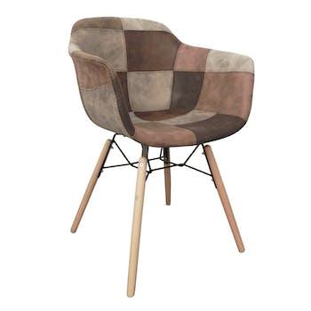 Fauteuil / Chaise industriel en patchwork tons marron et gris 53x50x83cm CANADA