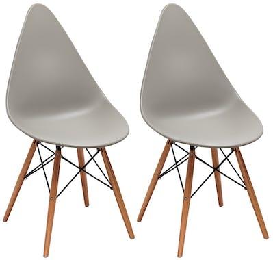 Chaise scandinave grise DROP (lot de 2)