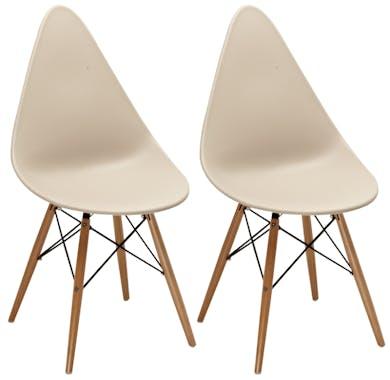 Chaise scandinave taupe DROP (lot de 2)