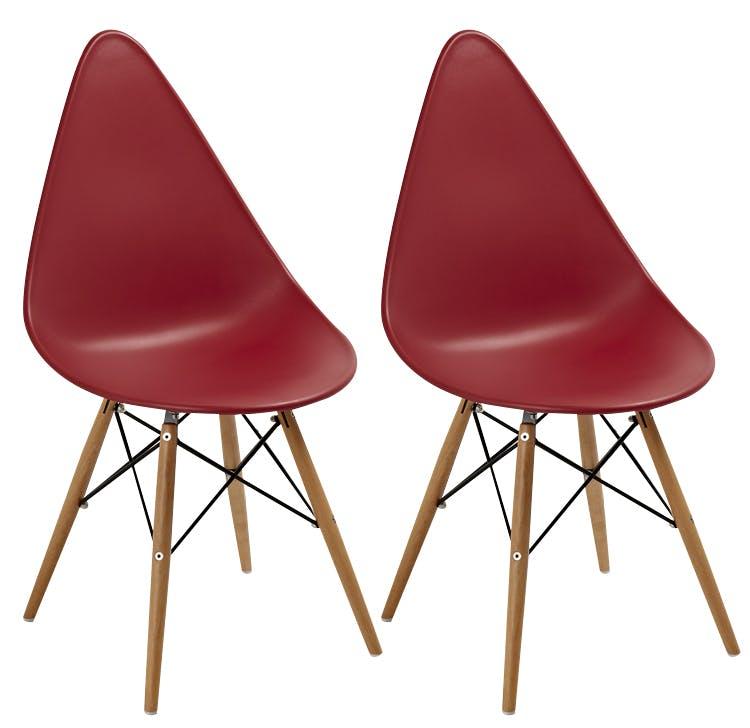 Chaise scandinave rouge DROP (lot de 2)