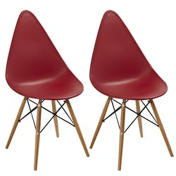 Chaise scandinave rouge DROP (lot de 2)