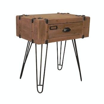 Table de chevet / Bout de canapé en sapin et métal 1 tiroir 60x40xH66cm WELSON
