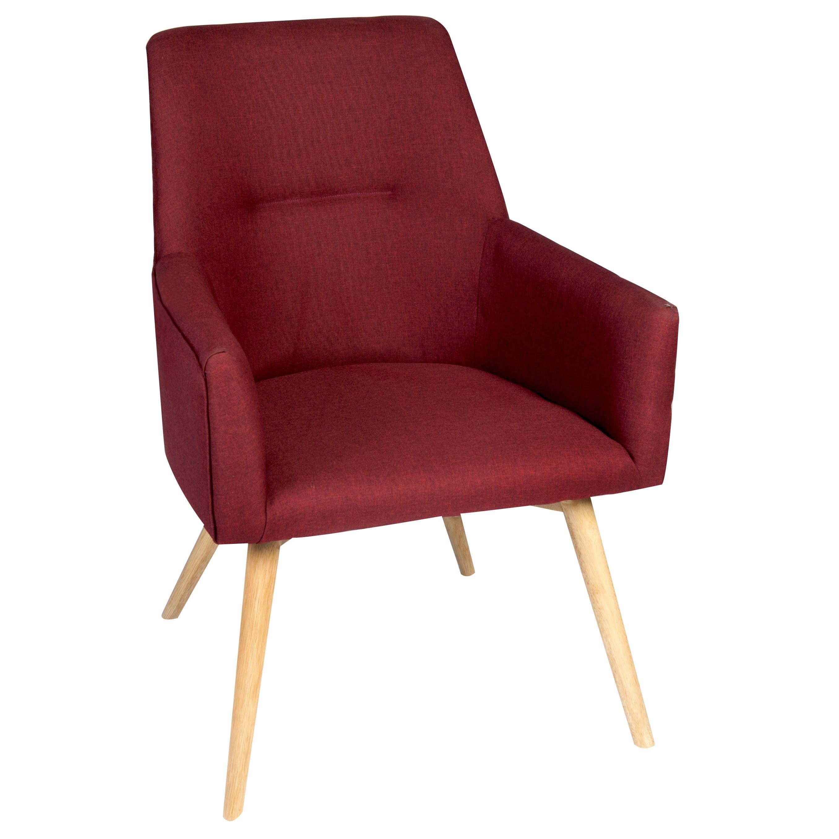 Fauteuil inspiration scandinave tissu couleur rouge pieds bois 72x62xH88cm OSLO 2