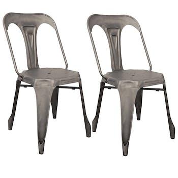 Lot de 2 chaises style industriel en métal couleur chrome satiné 44x53xH83cm RALF