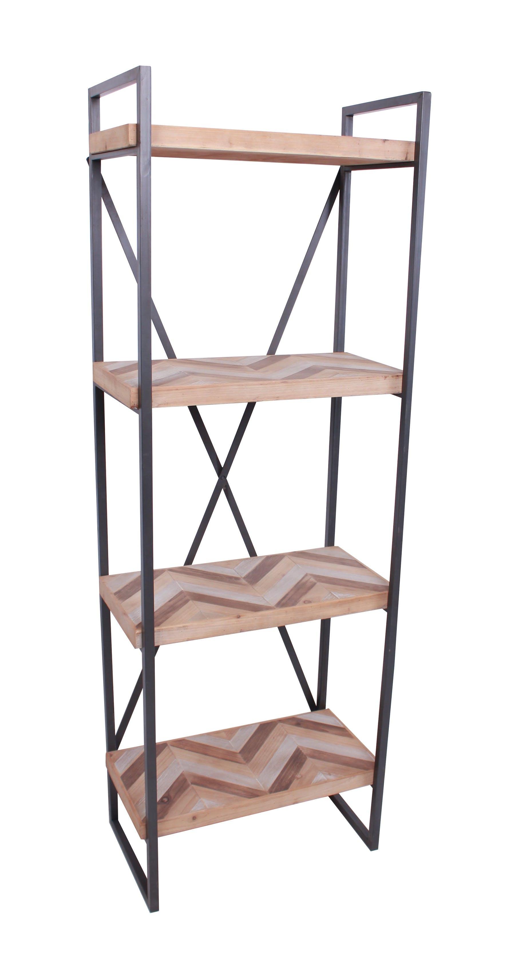 Etagère 4 plateaux en métal et bois motifs ethniques 60x35xH170cm SEVILLE