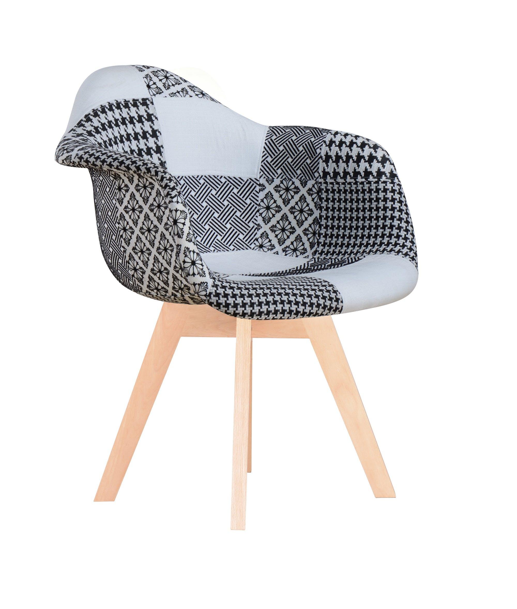 Fauteuil scandinave patchwork noir et blanc bois FINISH