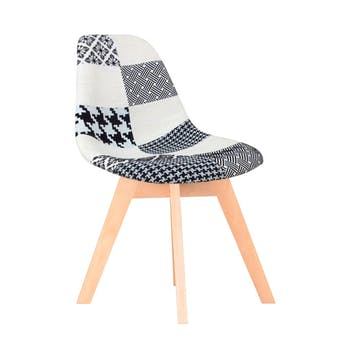 Chaise scandinave patchwork noir et blanc bois FINISH