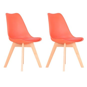 Chaise scandinave brique TONY2 (lot de 2)