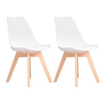 Chaise scandinave blanche TONY 2 (lot de 2)