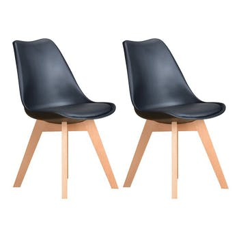 Chaise scandinave noire TONY2 (lot de 2)