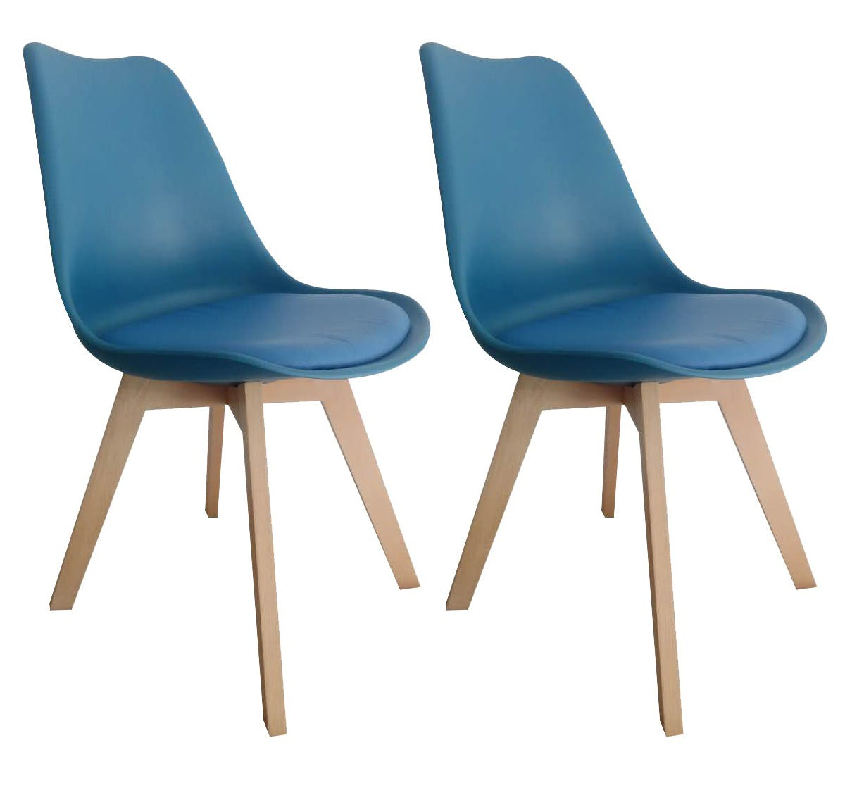 Chaise scandinave bleue TONY2 (lot de 2)