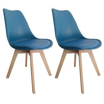 Chaise scandinave bleue TONY2 (lot de 2)