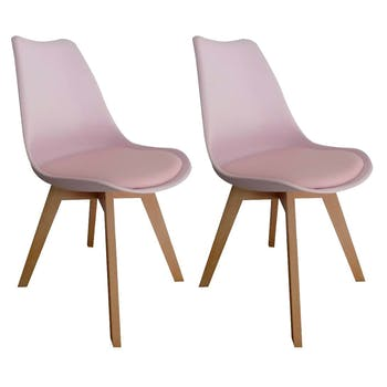 Chaise scandinave rose TONY2 (lot de 2)