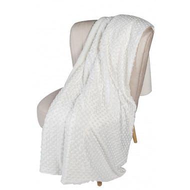 Plaid blanc motif perles 130x160cm