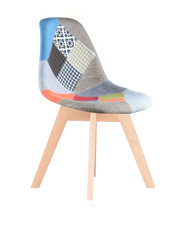 Chaise scandinave tissu patchwork STOCKHOLM