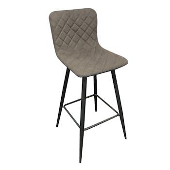 Chaise de bar tissu gris capitonné et pieds métal 42x49xH100cm MALMOE