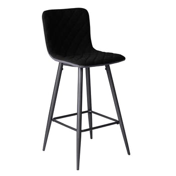 Chaise de bar tissu noir capitonné et pieds métal 42x49xH100cm MALMOE
