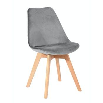 Chaise scandinave en velours gris 49x53xH84cm STOCKHOLM