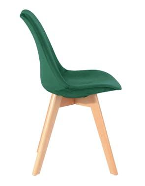 Chaise scandinave en velours vert émeraude 49x53xH84cm STOCKHOLM