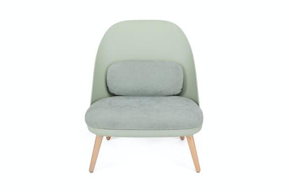 Fauteuil moderne en plastique et tissu vert 70x65x75cm AMAL