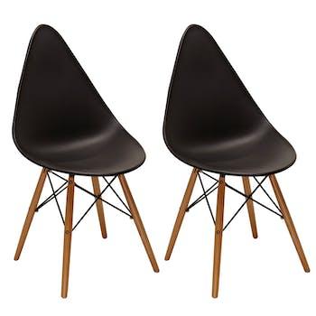 Chaise scandinave noire DROP (lot de 2)