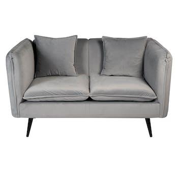 Canapé 2 places en velours gris + coussins L138cm MALMOE