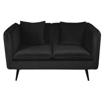 Canapé 2 places en velours noir + coussins L138cm MALMOE