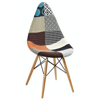 Chaise scandinave patchwork multicolore DROP