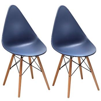Chaise scandinave bleu marine DROP (lot de 2)