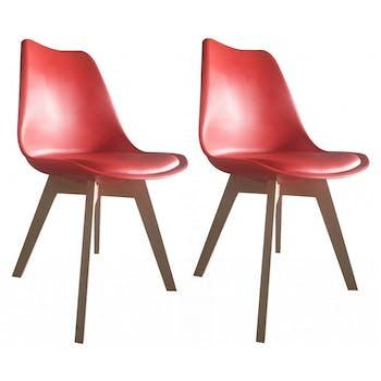 Chaise scandinave rouge TONY2 (lot de 2)