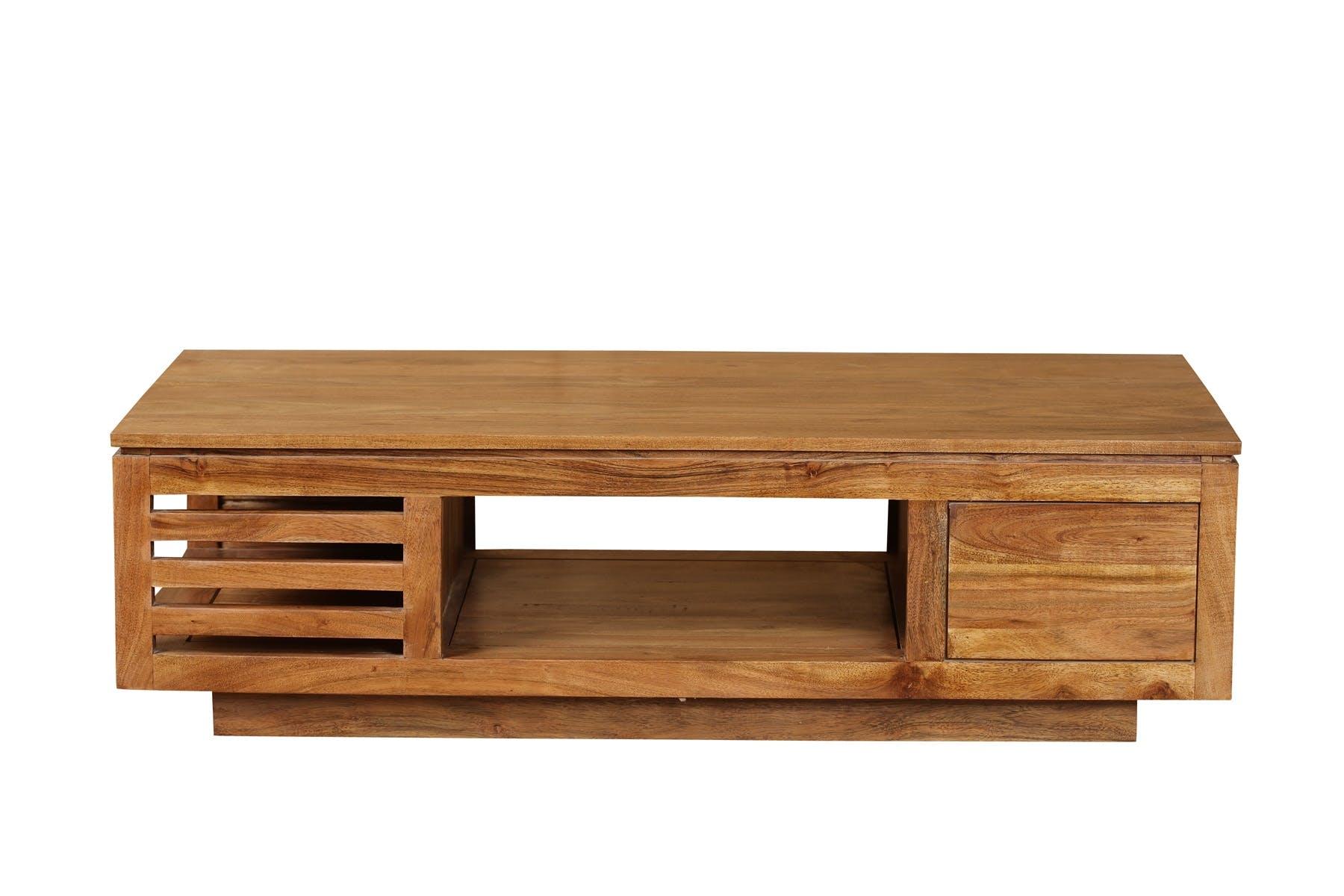 Table basse 3 niches Acacia massif miel 120x60x34,5cm BOREAL MIEL