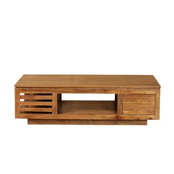 Table basse 3 niches Acacia massif miel 120x60x34,5cm BOREAL MIEL