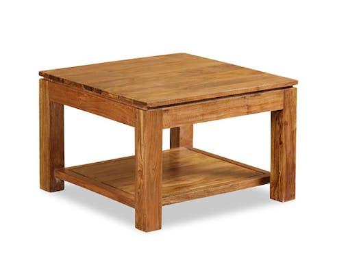 Table basse / Bout de canapé double plateaux Acacia massif miel 60x60x40cm BOREAL MIEL