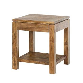 Bout de Canapé / Table de Chevet double plateaux, 1 tiroir en Acacia couleur miel 45x45x50cm BOREAL MIEL