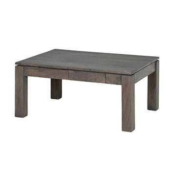 Table basse 2 tiroirs 90 x 65cm BOREAL acacia grisé