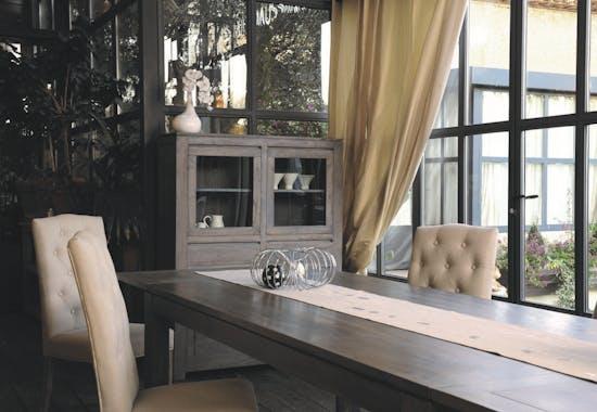 Bout de canapé moderne acacia grisé 60x60cm BOREAL