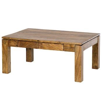 Table basse 2 tiroirs Acacia massif miel 90x65x40cm BOREAL MIEL