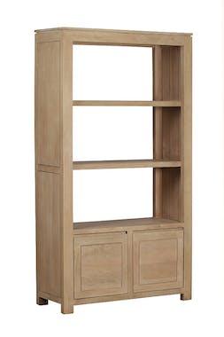 Bibliothèque 2 portes, 2 étagères, Manguier massif 100x38x180cm BOREAL CLAIR