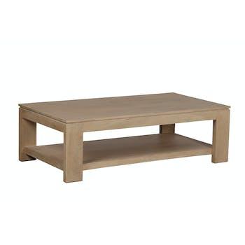 Table basse rectangle double plateaux Manguier massif 130x70x40cm BOREAL CLAIR