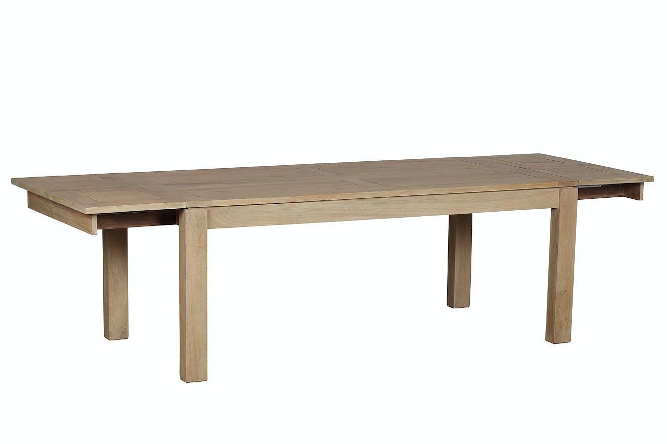 Table de repas extensible Manguier massif 160/250x100x78cm BOREAL CLAIR