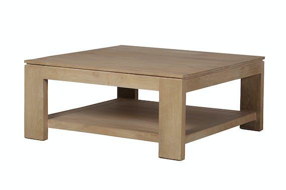 Table basse carrée double plateaux Manguier massif 90x90x40cm BOREAL CLAIR