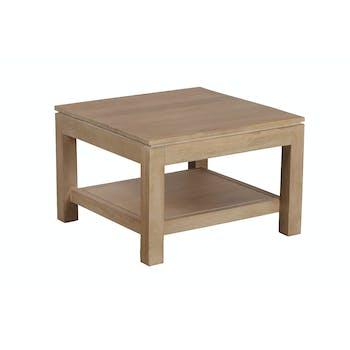 Bout de canapé / Table basse double plateaux Manguier massif 60x60x40cm BOREAL CLAIR
