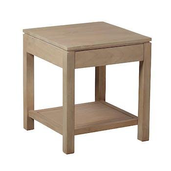 Bout de canapé / Table de chevet 1 tiroir Manguier massif 45x45x50cm BOREAL CLAIR