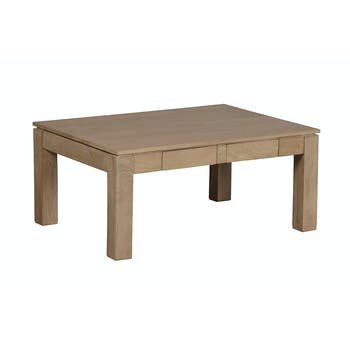 Table basse rectangle 2 tiroirs Manguier massif 90x65x40cm BOREAL CLAIR