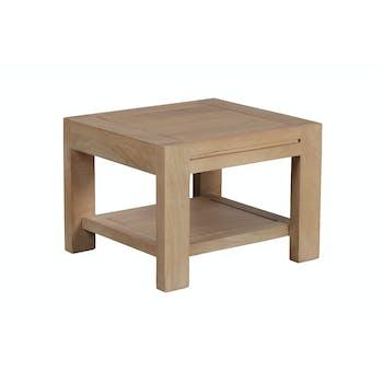 Bout de canapé / Table de chevet double plateaux Manguier massif 46x32x33cm BOREAL CLAIR